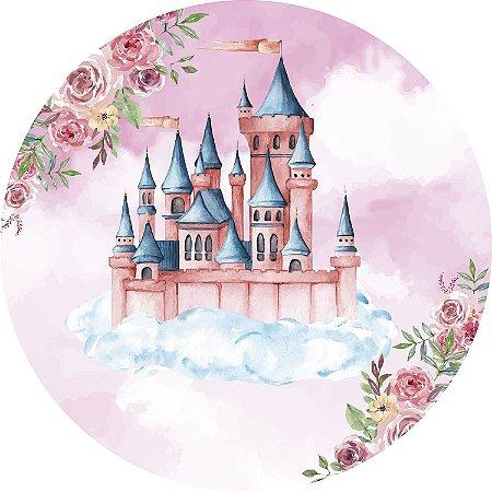 Painel de Festa Redondo em Tecido Sublimado Castelo das Princesas