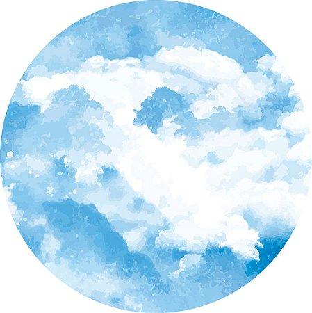 Painel de Festa Redondo em Tecido Sublimado Nuvens