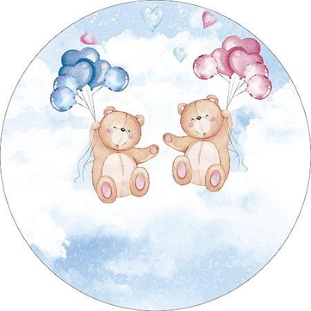 Painel de Festa Redondo em Tecido Sublimado Ursinhos e Balões Chá de Revelação