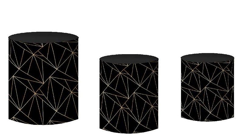 Kit Capas de Cilindro de festa em tecido sublimado Geométrico Preto e Dourado