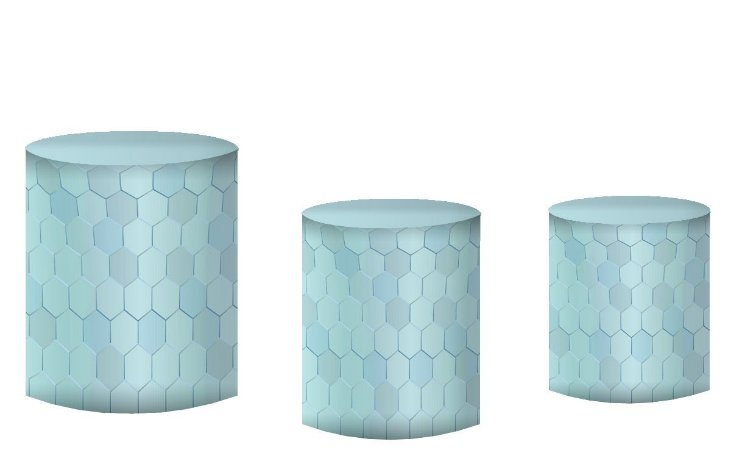 Kit Capas de Cilindro de festa em tecido sublimado Geométrico Azul