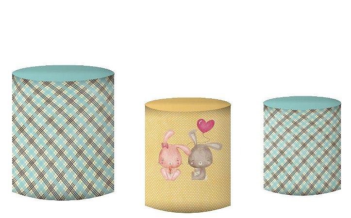 Kit Capas de Cilindro de festa em tecido sublimado Páscoa Coelhinho Aquarela