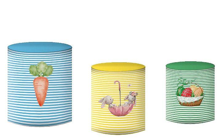 Kit Capas de Cilindro de festa em tecido sublimado Páscoa Coelhos
