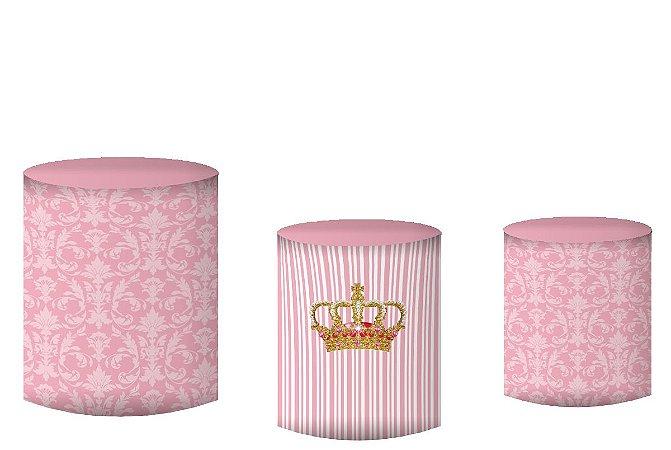 Kit Capas de Cilindro de festa em tecido sublimado Ursinha Princesa Realeza Rosa