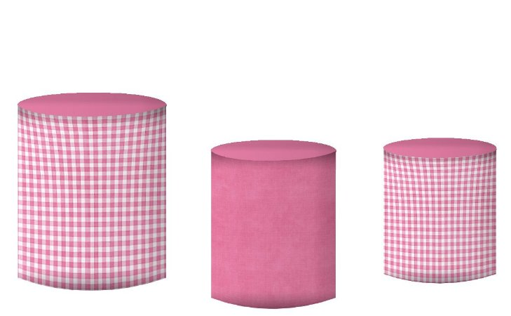 Kit Capas de Cilindro de festa em tecido sublimado Safari Rosa das Meninas