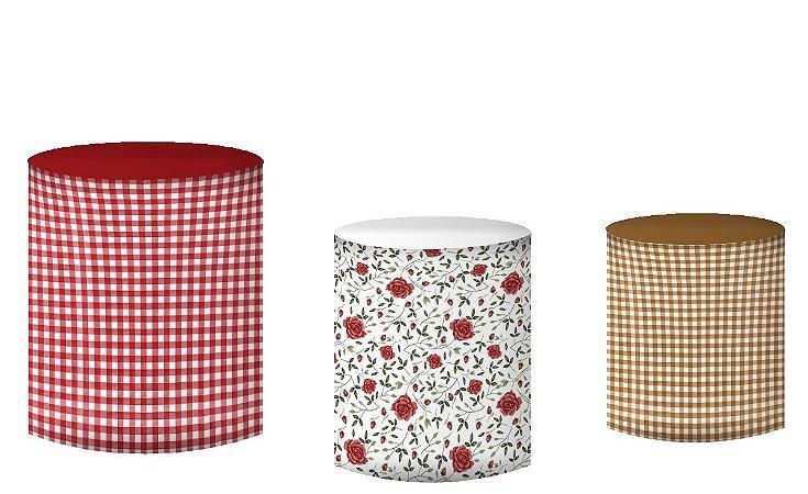 Kit Capas de Cilindro de festa em tecido sublimado Chapeuzinho Aquarela