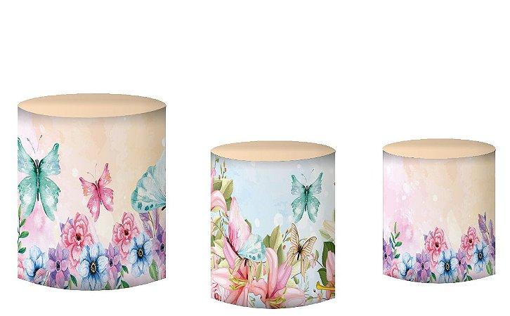 Kit Capas de Cilindro de festa em tecido sublimado Flores e Borboletas