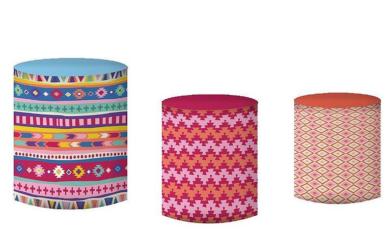 Kit Capas de Cilindro de festa em tecido sublimado Textura Lhamas