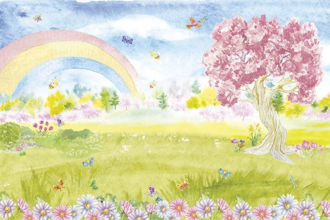 Painel de Festa em Tecido Sublimado 3d Lindo Jardim Árvore Rosa