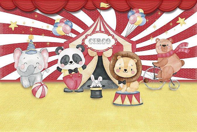 Painel de Festa em Tecido Sublimado 3d Circo dos Bichinhos Aquarela