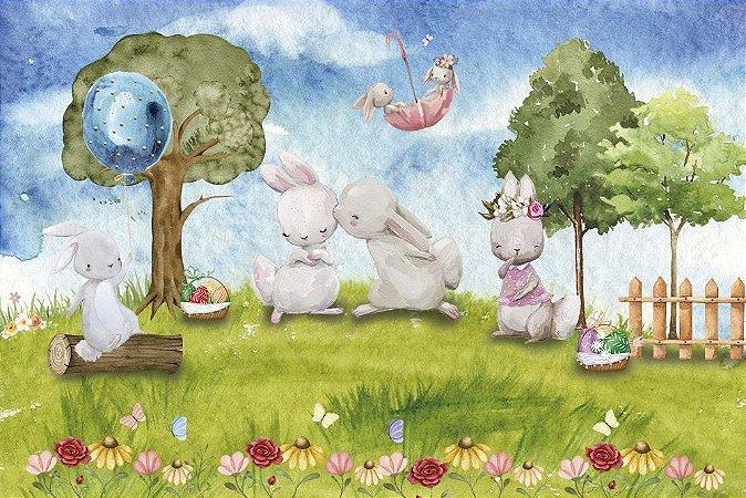Painel de Festa em Tecido Sublimado 3d Bosque dos Coelhinhos de Páscoa
