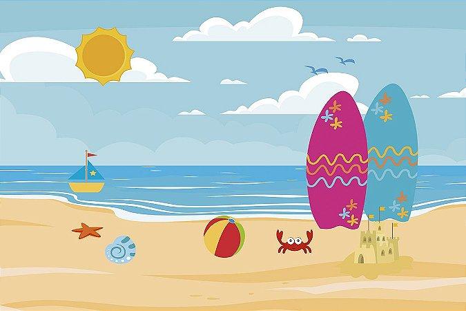 Painel de Festa em Tecido Sublimado 3d Praia e Pranchas Cute