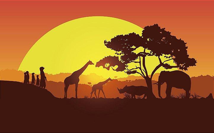 Painel de Festa em Tecido Sublimado 3d Safari Sol