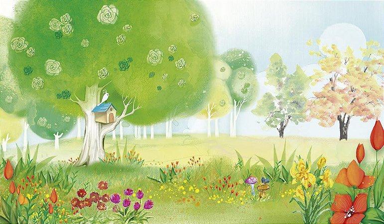 Painel de Festa em Tecido Sublimado 3d Jardim Colorido Aquarela