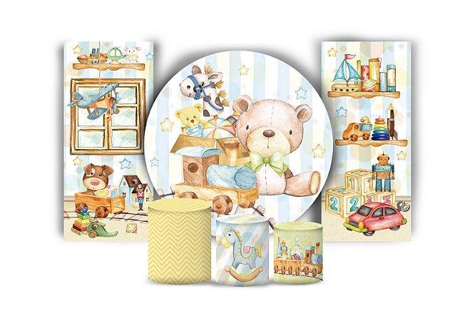 Super Kit Painel De Festa e Capas de Cilindro em tecido sublimado Brinquedos