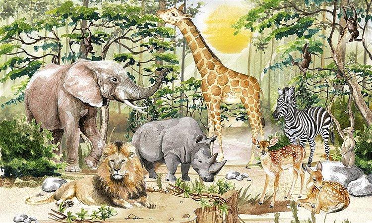 Painel de Festa em Tecido Sublimado 3d Safari Selvagem