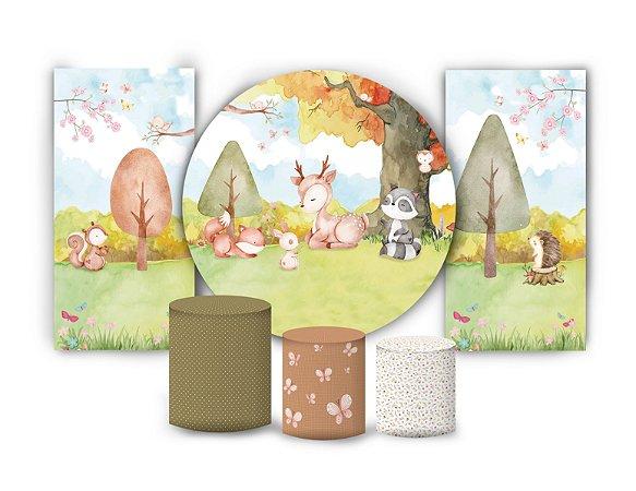 Super Kit Painel De Festa e Capas de Cilindro em tecido sublimado Bosque Feliz