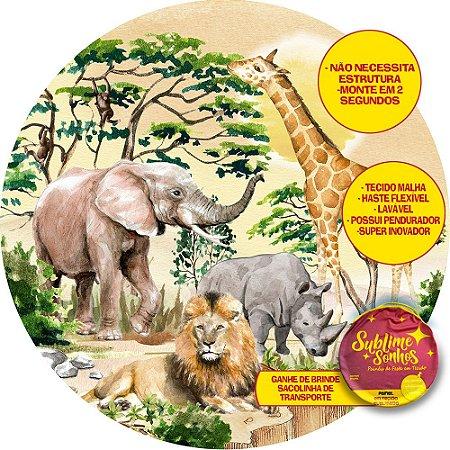 Painel De Festa Tecido Sublimado Abre Fácil Safari Selvagem 1,55m