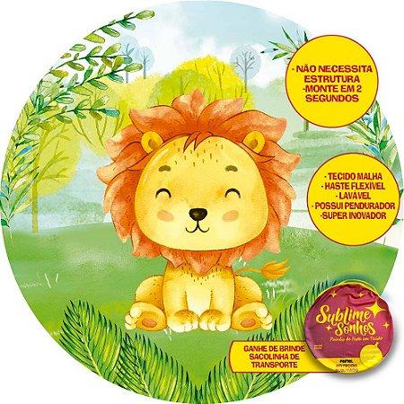 Painel De Festa Tecido Sublimado Abre Fácil Leãozinho Safari 1,55m