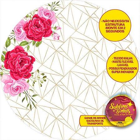 Painel De Festa Tecido Sublimado Abre Fácil Geométrico Floral 1,55m
