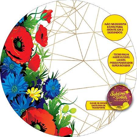 Painel De Festa Tecido Sublimado Abre Fácil Geométrico Flores Coloridas 1,55m