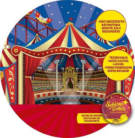 Painel De Festa Tecido Sublimado Abre Fácil Circo Picadeiro e Montanha 1,55m