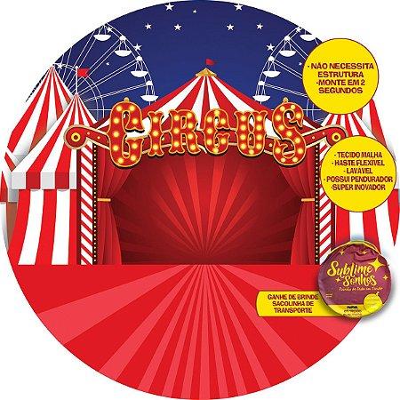 Painel De Festa Tecido Sublimado Abre Fácil Circo e Roda 1,55m