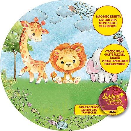 Painel De Festa Tecido Sublimado Abre Fácil Safari Baby Cute Aquarela 1,55m