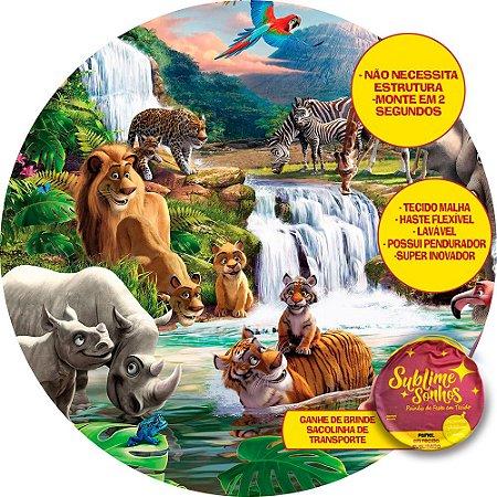 Painel De Festa Tecido Sublimado Abre Fácil Safari Cascata 1,55m