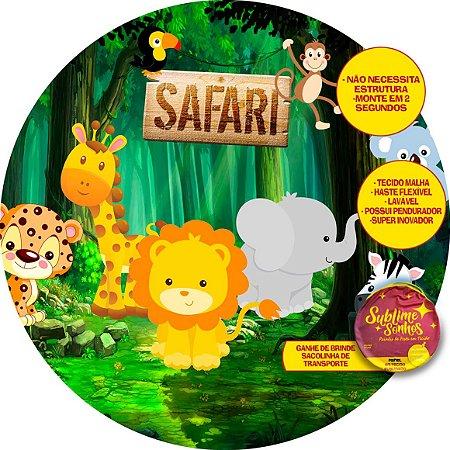 Painel De Festa Tecido Sublimado Abre Fácil Safari 1,55m