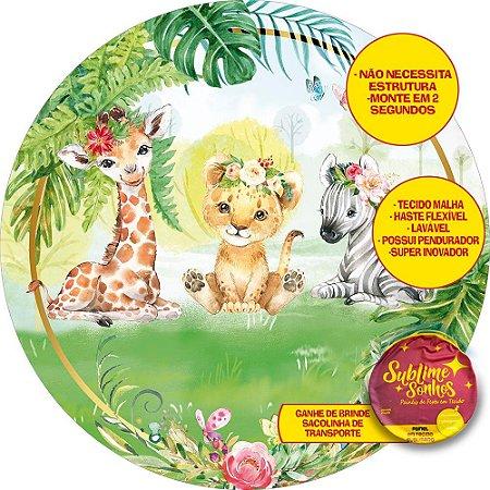Painel De Festa Tecido Sublimado Abre Fácil Safari Tropical 1,55m