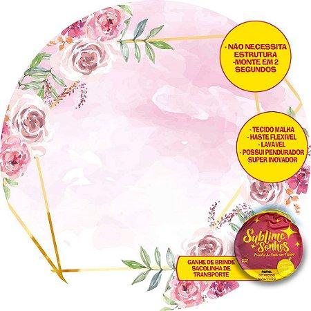 Painel De Festa Tecido Sublimado Abre Fácil Flores com fundo Rosa 1,55m