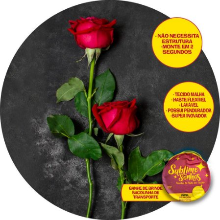Painel De Festa Tecido Sublimado Abre Fácil Botão de Rosas 1,55m