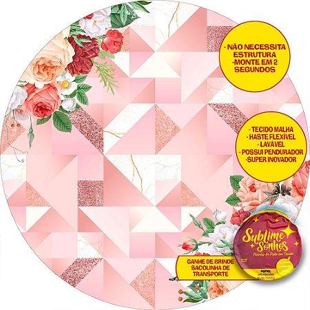 Painel De Festa Tecido Sublimado Abre Fácil Rosé Gold Florido 1,55m
