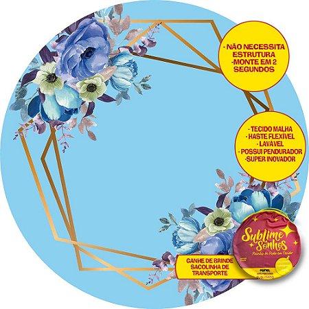 Painel De Festa Tecido Sublimado Abre Fácil Fundo Flores Azuis 1,55m