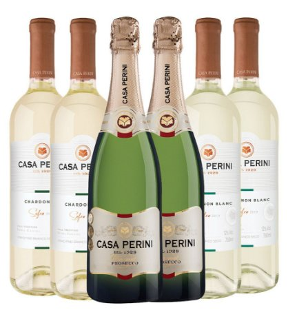 Kit Casa Perini 2: 2 Espumantes Prosecco 750ML + 2 Vinhos Chardonnay 750ML + 2 Vinhos Sauvignon Blanc 750ML