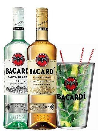 Kit Bacardi Carta Oro 980ml + Bacardi Carta Blanca 980ml + Copão de Mojito 2,2L