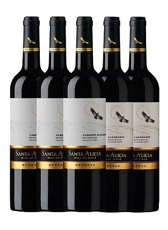 Mini Kit de Vinhos 1: 3 Santa Alicia Reserva Cabernet Sauvignon + 2 Santa Alicia Reserva Carmenere
