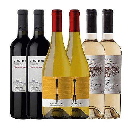 Mini Kit de Vinhos 2: 2 Condor Peak Cabernet Sauvignon + 2 Las Colinas Sauvignon Blanc + 2 FoodKiller Chardonnay