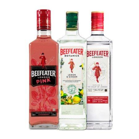 Trio Beefeater: Beefeater Normal, Botanics e Pink - 750ML