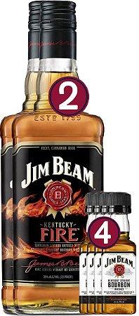 KIT 02 JIM BEAM FIRE 1L + 04 JIM BEAM 50ML