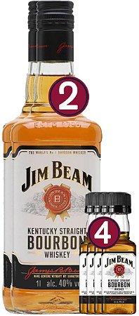 KIT 02 JIM BEAM WHITE 1L + 04 JIM BEAM 50ML