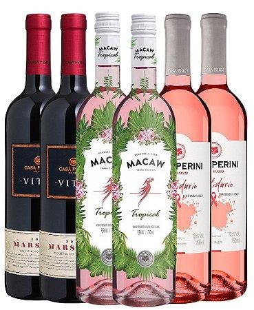 Kit Casa Perini - 2 Vinhos Secos Vitis Marselan + 2 Macaw Tropical Rosé Frisante + 2 Vinhos Rosé Solidário