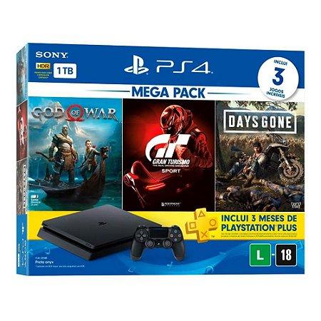 CONSOLE PLAYSTATION 4 MEGA PACK V12 – GOD OF WAR, GRAN TURISMO SPORT, DAYS GONE – 1TB