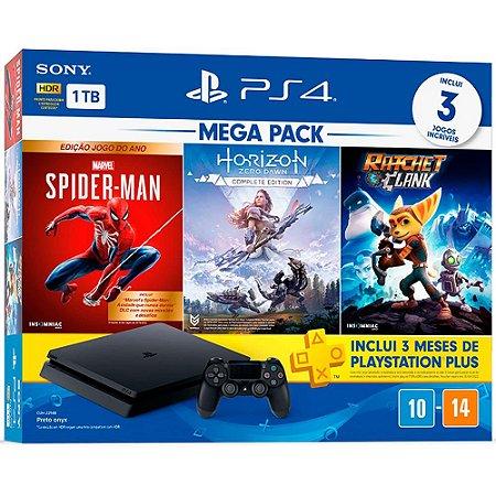 PLAYSTATION 4 MEGA PACK V14 (SPIDER-MAN: JOGO DO ANO; HORIZON ZERO DAWN; RATCHET & CLANK) - 1TB