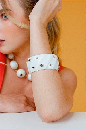 Bracelete Resina Grosso E Mix Pedras Colors