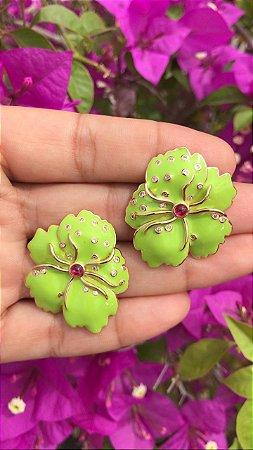 Brinco Flor Verde