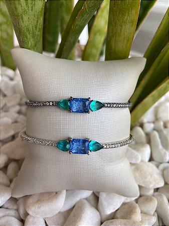 Pulseira Regulavel Pedra Quadrada Azul e Gotinhas Verde