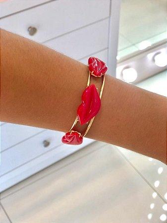 Bracelete Duplo Boca Vermelha