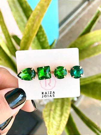 Presilha Pedras Verde Esmeralda